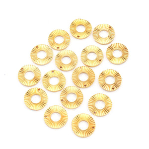 10 Pcs Copper Designer Round Charm With Hole - Round Charm With Big Hole in 24k Gold Plated 14mm - GPC303 - Tucson Beads