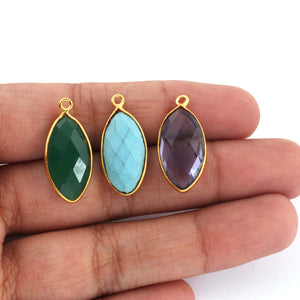 6 Pcs Turquoise, Iolite & Green Onyx Marquise Shape 24k Gold Plated Pendant - 24mmx11mm PC423 - Tucson Beads
