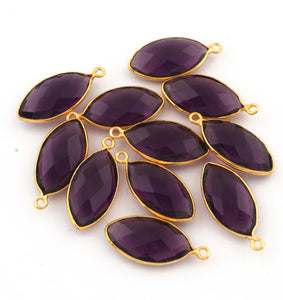 6 Pcs Garnet, Amethyst & Black Onyx Marquise Shape 24k Gold Plated Pendant - 24mmx11mm PC425 - Tucson Beads