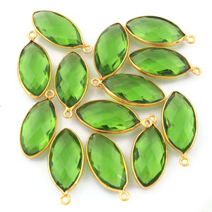 5 Pcs Beer Quartz ,Blue Topz & Peridot Marquise Shape 24k Gold Plated Pendant - 24mmx11mm PC426 - Tucson Beads