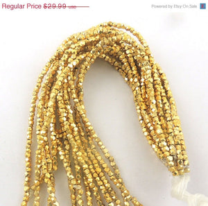 5 Strands AAA Quality  Diamond Cut Cubes Beads 24k Gold Plated Box Shape beads 3mm-3.5mm  7.5 inch Strand GPC566 - Tucson Beads