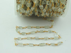 4 Feet Aquamarine Plain Smooth Rosary  Style Beaded Chain  - Aquamarine Plain Beads Wire Wrapped 24k Gold Plated Chain BD-406 - Tucson Beads