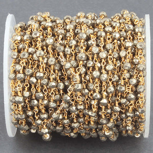 50 Feet Natural Pyrite 3-3.5mm Rosary Style Beaded Chain - BULK Wholesale 24k Gold Plated Chain BDG020 - Tucson Beads