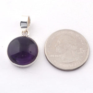 1 Pc Genuine and Amethyst Pendant - 925 Sterling Silver Pendant- Gemstone Pendant 22-17mm SJ24 - Tucson Beads