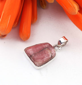 1 Pc Genuine and Rare Rhodocrosite Pendant - 925 Sterling Silver - Gemstone Pendant 25mm-18mm SJ37 - Tucson Beads