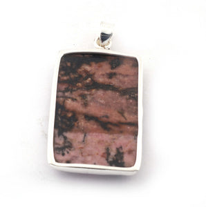 1 Pc Genuine and Rare Rhodocrosite Pendant - 925 Sterling Silver - Gemstone Pendant 44mm-26mm SJ17 - Tucson Beads