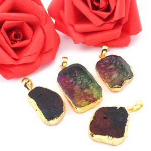 Mix Stone Druzy Assorted Pendant 24k Gold Plated Electroplated Single Bail Pendant 37mmx22mm-26mmx20mm DRZ002 - Tucson Beads