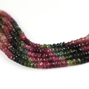 1 Strand Multi Tourmaline Faceted Rondelles - Roundle Beads 5mm 14 Inches - Tucson Beads
