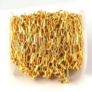 5 feet Gold Plated Copper Chain - Cable Link Chain - Copper Gold Plated Designer Chain - Gold Necklace Chain - Soldered Chain 10mmx5mm GPC994 - Tucson Beads