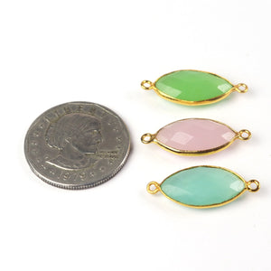 Rose Quartz, Aqua Chalcedony, Green Chalcedony 24k Gold Plated Faceted Marquise Shape Connector  26mmx11mm-28mmx11mm PC439 - Tucson Beads