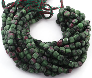 1 strand Ruby Zoisite Faceted Cube Briolettes,Gemstone Box Shape Beads 9-8mm 9.5inches BR3104 - Tucson Beads