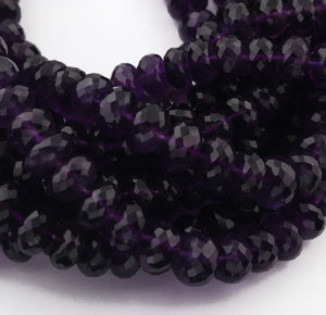 1 strand Amethyst Faceted Round Beads,Amethyst Rondelles 11-9mm 10inches BR3105 - Tucson Beads