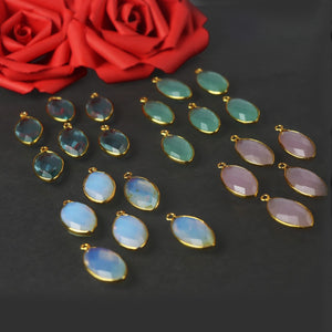 6 Pcs Rose Quartz, Green Chalcedony, Aqua Chalcedony, Blue Topaz 24k Gold Plated Faceted Dagger Shape Single Bail Pendant  29mmx13mm-30mmx13mm PC420 - Tucson Beads