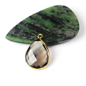 10 Pcs Smoky Quartz Faceted Pear Drop Pendant 24k Gold Plated - 16mmx9mm-24mmx15mm PC272 - Tucson Beads