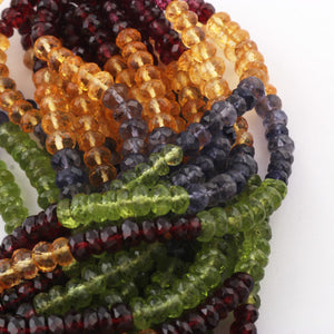 1 Strand Mix Stone (Garnet,Citrine,peridot,Iolite) Rondelle Faceted Beads 6-8mm 18 Inches BR3113 - Tucson Beads