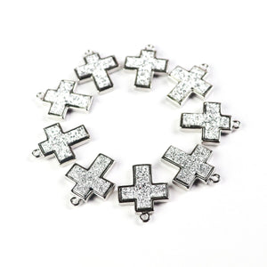 10 Pcs Mystic White  Druzy Cross Charm Pendant Oxidized Silver Plated Pendant 21mmx13mm PC013 - Tucson Beads