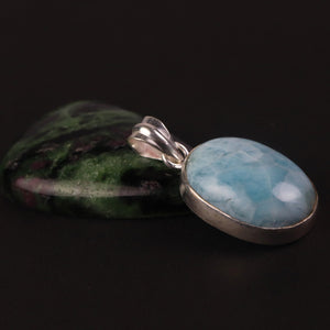 1 Pc Very Beautiful Genuine and Rare Larimar Oval Pendant - 925 Sterling Silver- Gemstone Pendant 46mmx22mm-13mmx11mm SJ356 - Tucson Beads