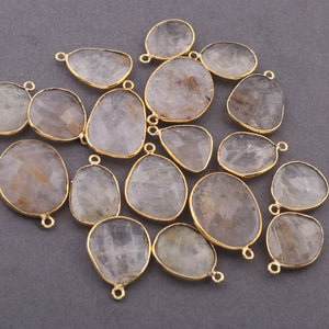 10 Pcs Golden Rutile Faceted Assorted Shape Pendant ,Mix Shape Gold Plated Pendant 28mmx20mm-19mmx12mm  PC198 - Tucson Beads