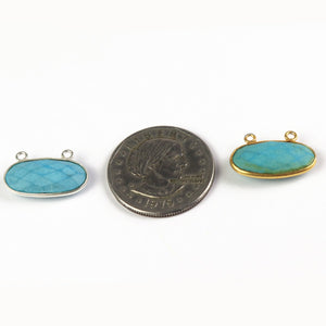 5 Pcs Turquoise 925 Sterling Silver/ Vermeil Faceted Oval Shape Double Bail pendant - 21mmx13mm SS660 - Tucson Beads