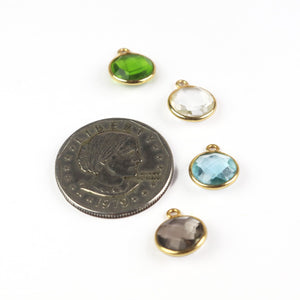 7 Pcs Smoky Quartz,Blue Topaz,Peridot,Crystal Quartz 925 Sterling Vermeil Faceted Round Shape Pendant  - Gemstone 14mmx11mm SS963 - Tucson Beads