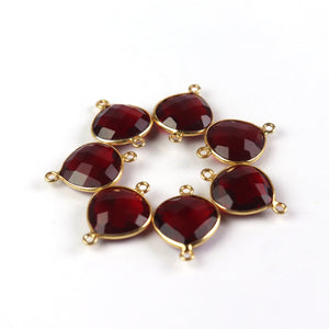 9 Pcs Garnet Faceted 925 Sterling Vermeil Connector - Heart Shape Connector 19mmx15mm-22mmx15mm SS631 - Tucson Beads