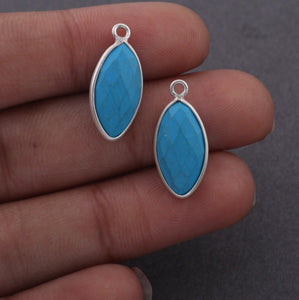 5 Pcs  925 Sterling Silver Turquoise Faceted Marquise Shape Pendent -Gemstone Pendant 22mmx9mm SS326 - Tucson Beads