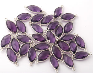 4 Pcs Amethyst 925 Sterling Silver Faceted Marquise Shape Connector -Gemstone Connector 22mmx9mm SS350 - Tucson Beads