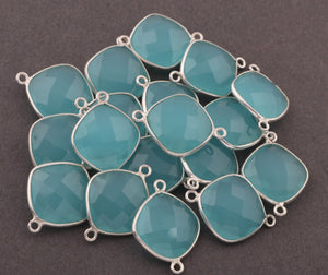 5 Pcs Blue Aqua Chalcedony 925 Sterling Silver Faceted Cushion Shape Connector -Gemstone Connector 20mmx17mm SS367 - Tucson Beads