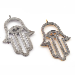 1 Pc Pave Diamond Hamsa With Eye Charm 925 sterling Vermeil Pendant - Hamsa Charm Pendant 44mmx29mm PDC044 - Tucson Beads