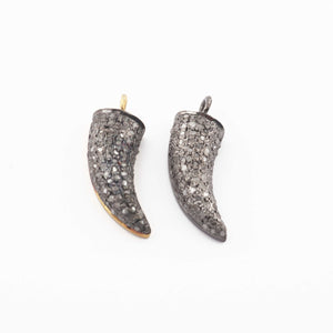 1 Pc Pave Diamond Horn Charm Pendant - 925 Sterling Silver/ Vermeil - Horn Pendant (You Choose) 20mmx7mm PDC107 - Tucson Beads