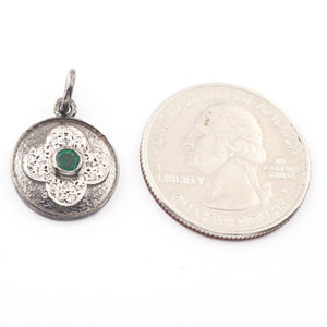 1 Pc Pave Diamond Round Flower with Center in Emerald Pendant 925 Sterling Silver -18mmx15mm Pdc192 - Tucson Beads