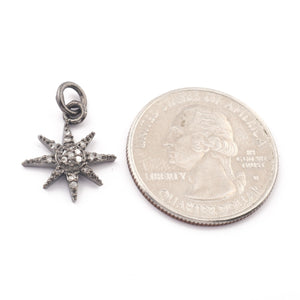 1 Pc Pave Diamond Sun Star Charm 925 Sterling Silver Pendant - 17mmx15mm Pdc195 - Tucson Beads