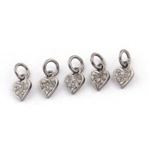 5 Pcs Pave Diamond Heart Shape Charm Pendant - 925 Sterling Silver - 10mmx7mm PDC013 - Tucson Beads