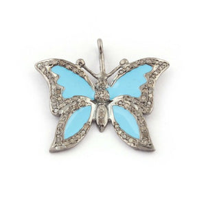 1 Pc Natural Pave Diamond Turquoise Bakelite Butterfly 925 Sterling Silver Pendant 23mmx24mm PDC021 - Tucson Beads