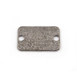 1 Pc Pave Diamond 925 Sterling Silver Flat Rectangle Connector - Diamond Charm Connector 34mmx21mm PDC1004 - Tucson Beads