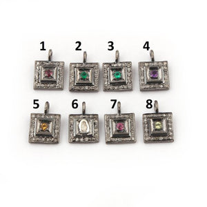 1 Pc Pave Diamond Multi Stone Square Charm 925 Sterling Silver Pendant -11mmx8mm PDC1027 - Tucson Beads