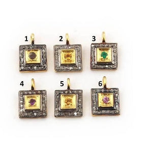 1 Pc Pave Diamond Multi Stone Square Charm 925 Sterling Vermeil Pendant - 11mmx8mm PDC1031 - Tucson Beads