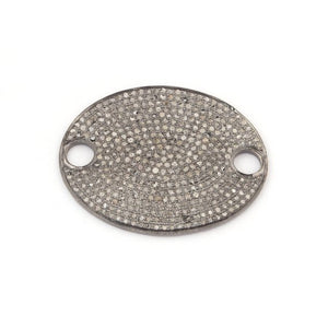 1 Pc Pave Diamond 925 Sterling Silver Oval Connector - Diamond Charm Connector 34mmx27mm PDC1044 - Tucson Beads