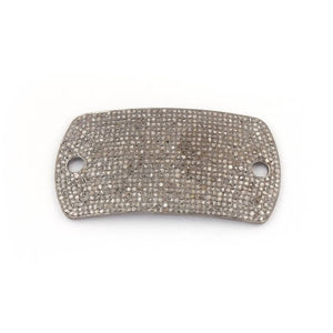 1 Pc Pave Diamond 925 Sterling Silver Rounded Rectangle Connector - Diamond Connector 54mmx28mm PDC1047 - Tucson Beads
