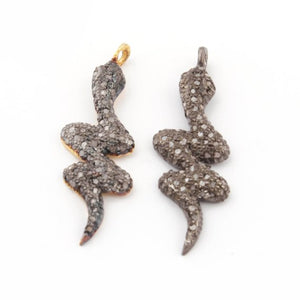1 Pc Natural Pave Diamond Snake Charm Pendant --925 Sterling Silver / Vermeil Pendant 28mmx9mm PDC106 (You Choose) - Tucson Beads
