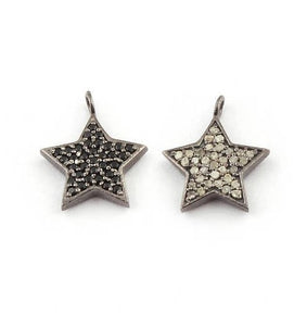 1 Pc Pave Diamond & Black Spinel Double Side Star Charm 925 sterling Silver Pendant - 16mmx13mm Pdc1079 - Tucson Beads