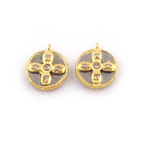 1 Pc Pave Diamond Round With Cross 925 Sterling Vermeil Pendant - 13mmx11mm PDC1107 - Tucson Beads