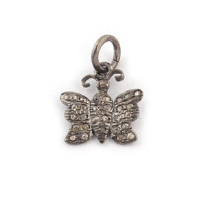 1 Piece Pave diamond 925 Sterling Silver Butterfly Charm Pendant - Diamond Butterfly Pendant 14mmx13mm PDC110 - Tucson Beads