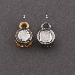 1 Pc Rose Cut Diamond 925 Sterling Vermeil & Silver Round Pendant 12mmx8mm PDC1128 - Tucson Beads