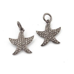 1 Pc Pave Diamond Star Fish Charm Over 925 Sterling Silver Single Bail Pendant - Star Pendant 17mmx11mm PDC114 - Tucson Beads