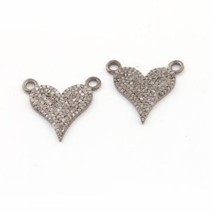 1 Pc Beautiful Pave Diamond Heart 925 Sterling Silver Double Bail Pendant - 17mmx14mm PDC 1157 - Tucson Beads