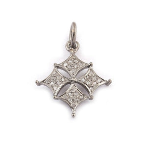 1 Pc Pave Diamond Clover Fancy Charm 925 Sterling Silver Pendant - Diamond Clover Pendant 19mmx17mm PDC116 - Tucson Beads