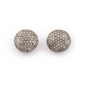 1 PC Pave Diamond Round Bead- 925 Sterling Silver -Antique Finish Round Bead 8mm PDC1177 - Tucson Beads