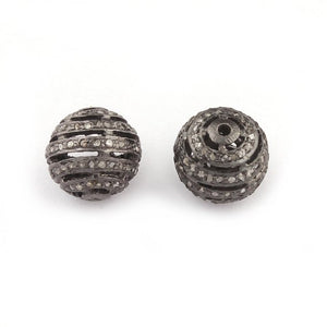 1 PC Pave Diamond Round beads 925 Sterling Silver Ball Bead- Antique Finish Round Bead 11mm PDC 1181 - Tucson Beads