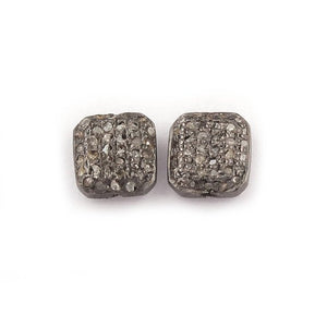 1 PC Pave Diamond Antique Finish Square Beads 925 Sterling Silver - 8mm PDC1191 - Tucson Beads